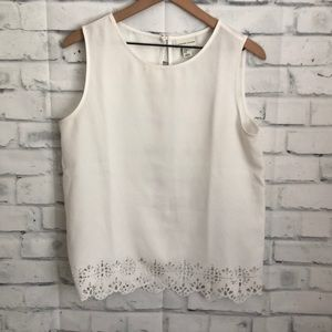 Adrienne Vittadini white tank with lace detail